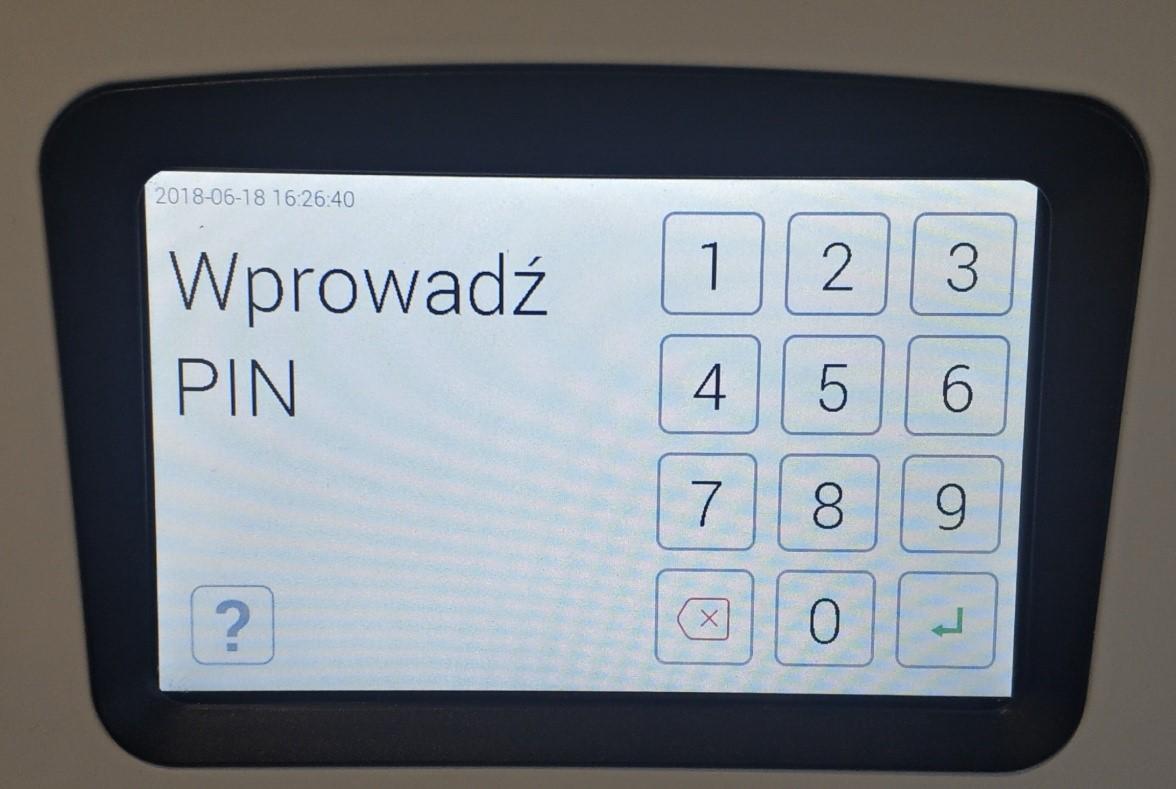 Depozytor Traka21 wprowadzanie pinu